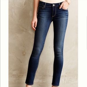 Paige Skyline Blue Denim Zippered Ankle Jeans
